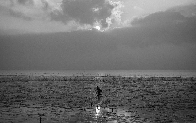 water-fisherman-monochrome-lake-beach picture material
