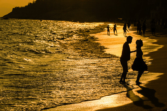 beach-sunset-people-water-sea picture material