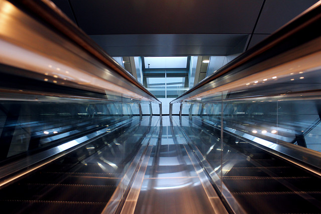 subway-system-blur-fast-escalator-tunnel picture material
