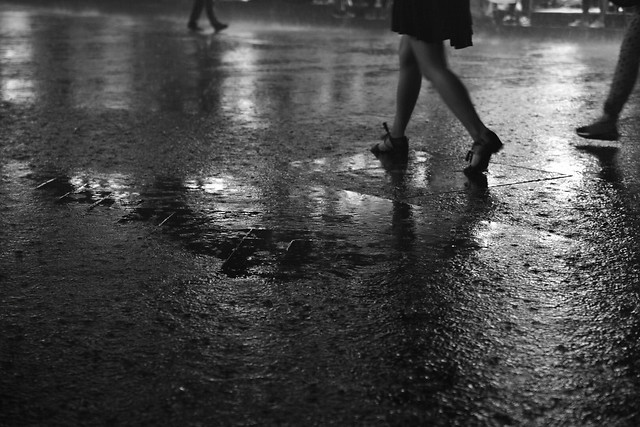 people-rain-monochrome-water-street picture material