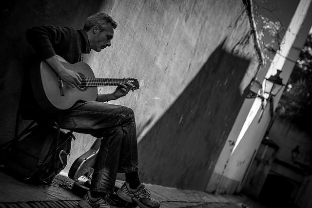 guitar-music-people-musician-monochrome picture material
