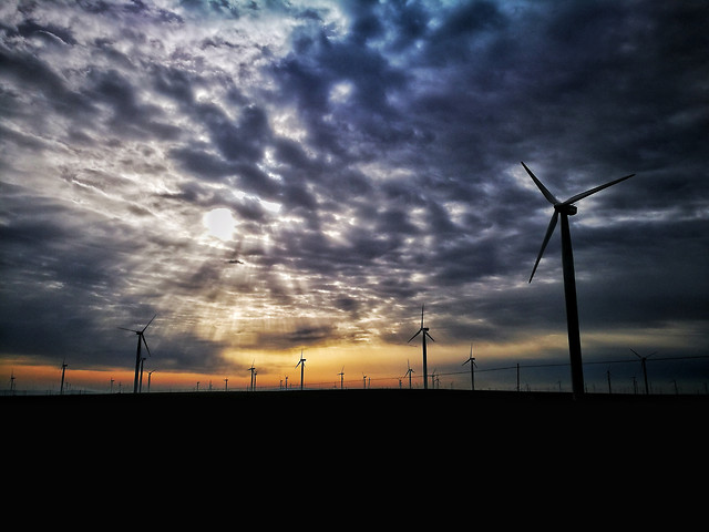 electricity-wind-windmill-energy-sunset picture material