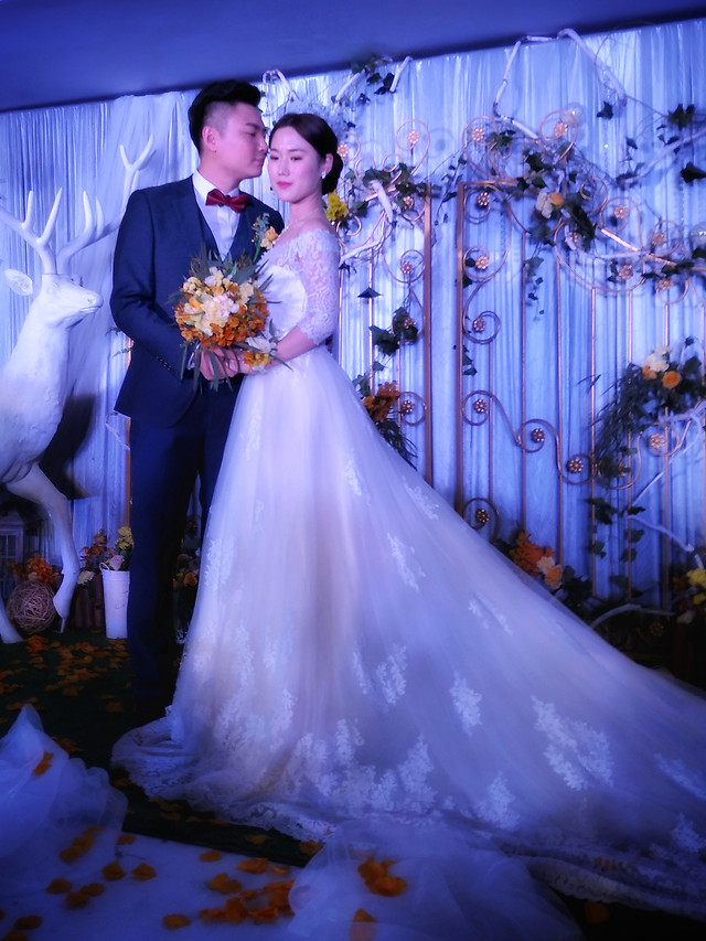 wedding-bride-groom-ceremony-veil picture material