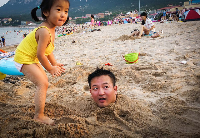 child-beach-people-water-seashore picture material