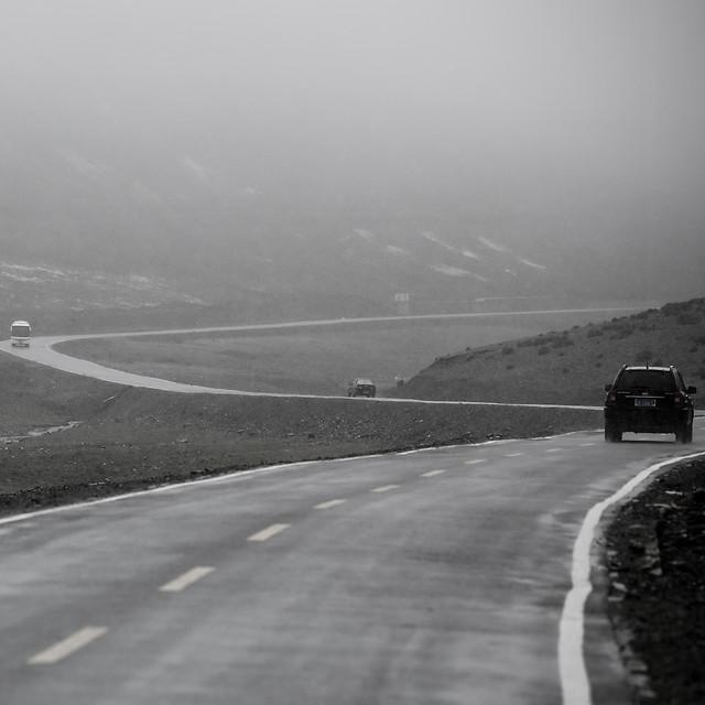 road-no-person-monochrome-fog-travel picture material