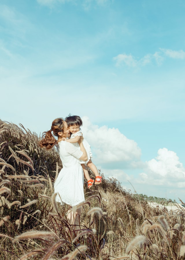 sky-girl-grass-happiness-love picture material