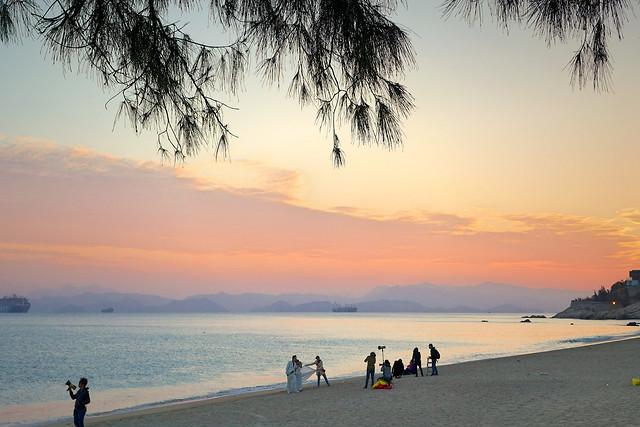 sunset-beach-water-dawn-sun picture material
