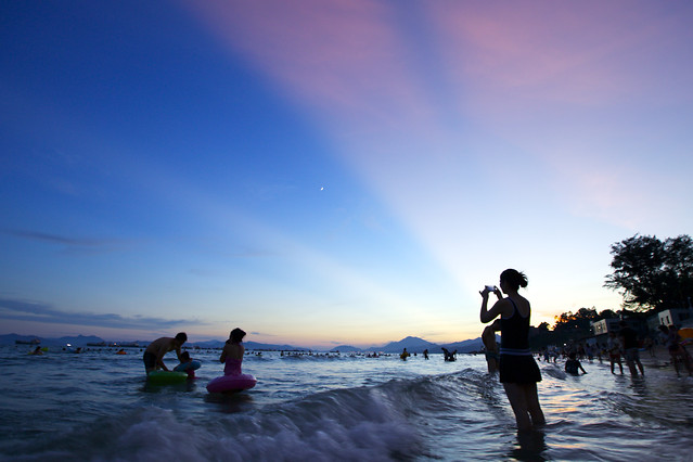 water-beach-sea-sunset-people picture material