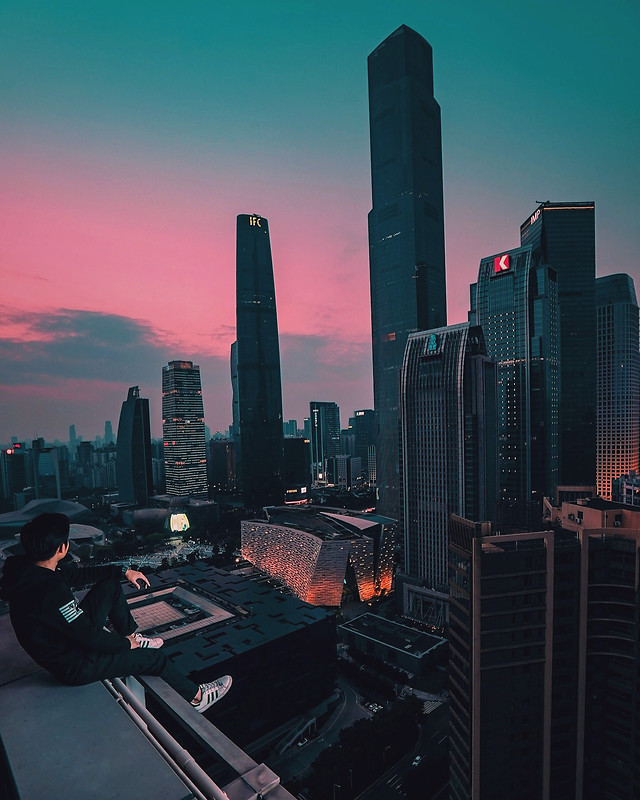 city-skyscraper-architecture-skyline-sunset picture material