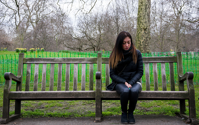 bench-park-girl-woman-green picture material