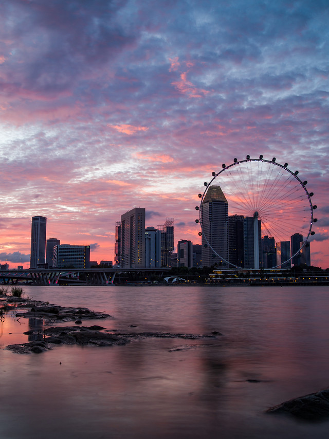 city-skyline-architecture-sunset-water picture material