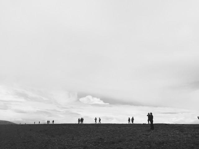 landscape-fog-sky-people-beach picture material