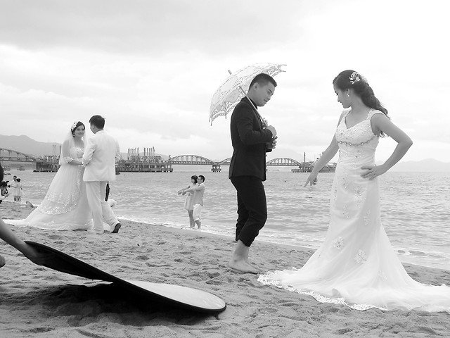 people-beach-wedding-bride-love picture material