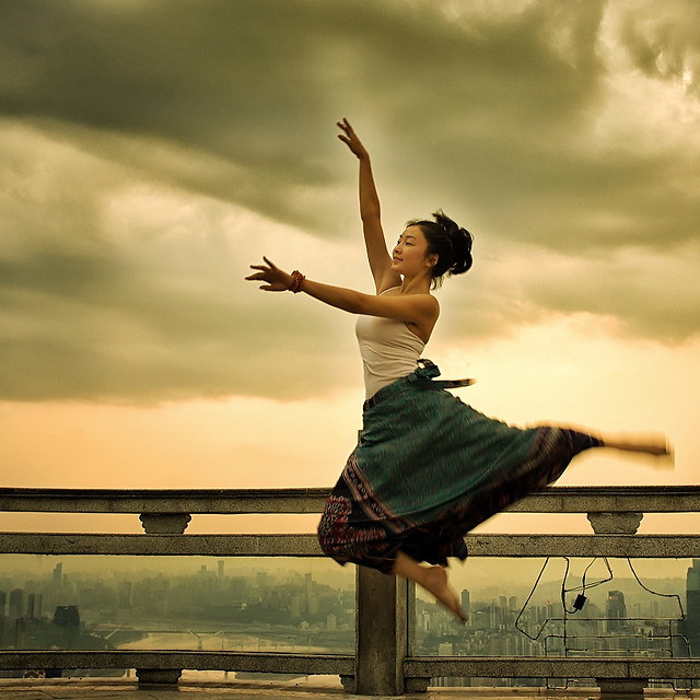 sunset-balance-woman-leisure-ballet 图片素材