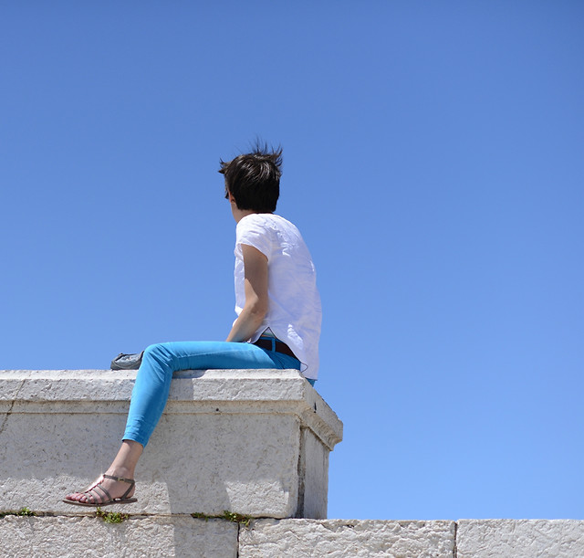 sky-woman-summer-blue-outdoors picture material