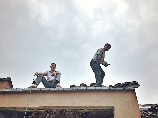 balance-roof-sky-rooftop-man picture material