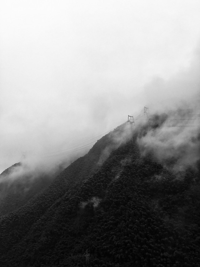 fog-landscape-monochrome-mist-mountain picture material