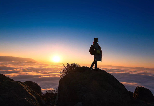 sunset-dawn-landscape-hike-sky picture material