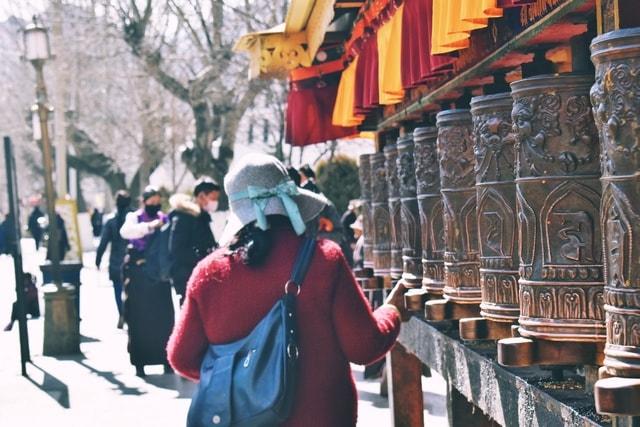 tibet-turning-wheel-worship-tourism-travel picture material