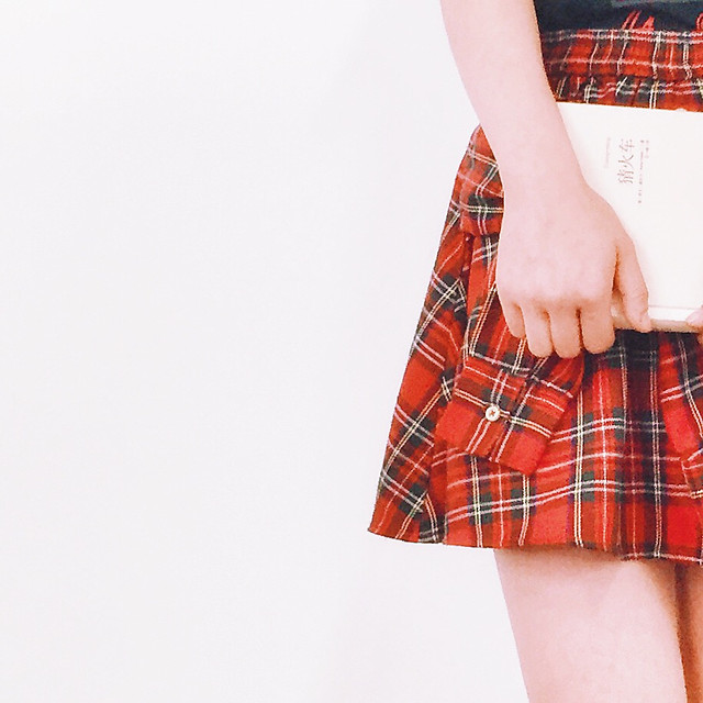 woman-isolated-young-girl-tartan picture material