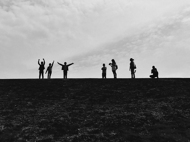 people-sky-white-landscape-black picture material