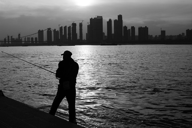 water-river-silhouette-people-fisherman picture material