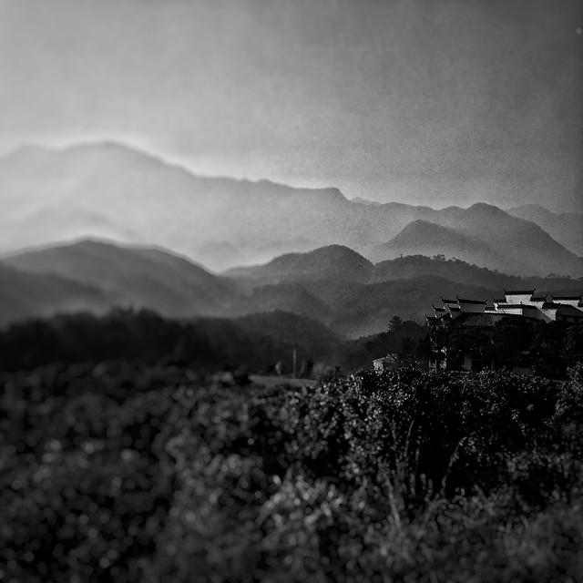 monochrome-mountain-no-person-fog-landscape picture material