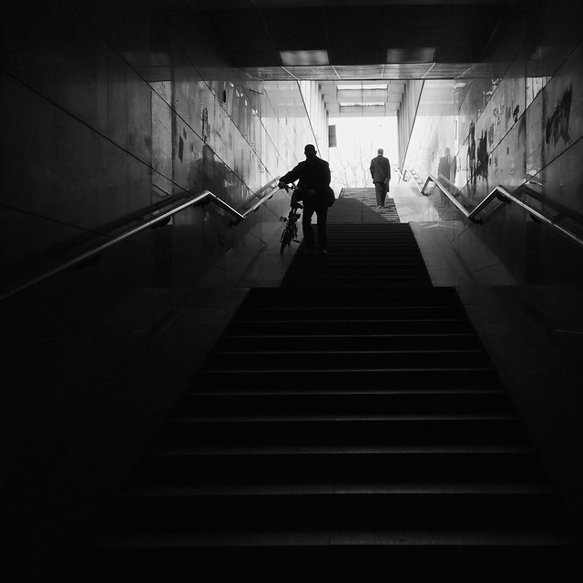 step-people-monochrome-light-subway-system picture material