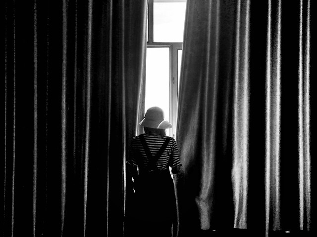 curtain-people-black-white-photograph picture material