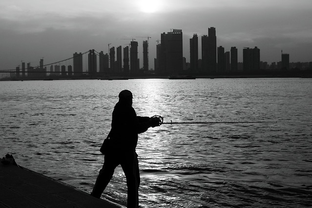 water-silhouette-sunset-river-fisherman picture material