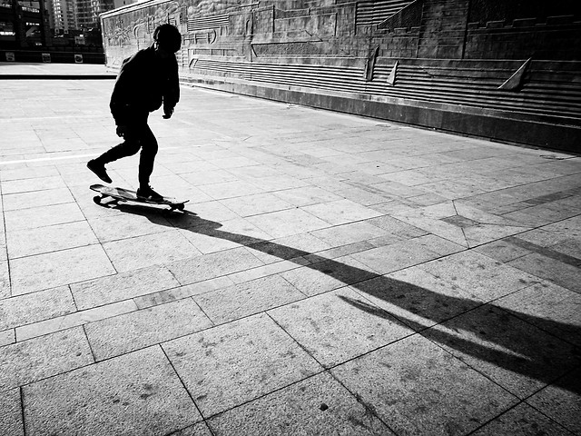monochrome-street-people-pavement-skate picture material