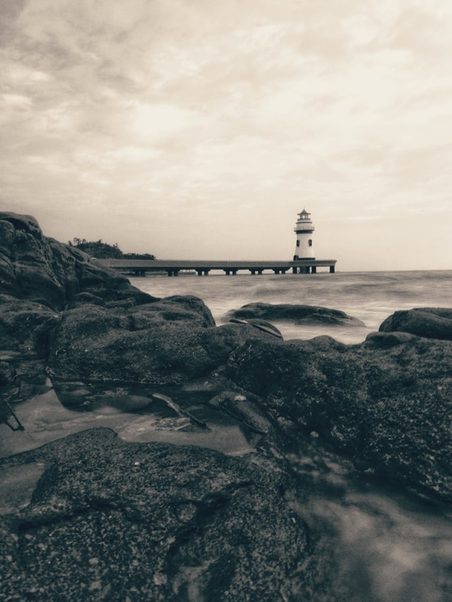 lighthouse-sky-water-sea-tower picture material