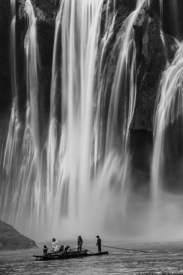 water-waterfall-nature-monochrome-river picture material