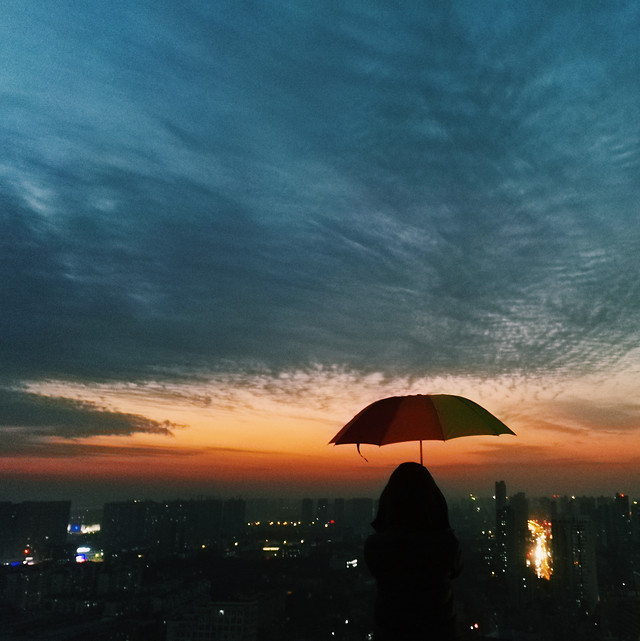 sunset-sky-dawn-no-person-umbrella 图片素材