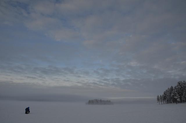 winter-water-landscape-fog-snow 图片素材