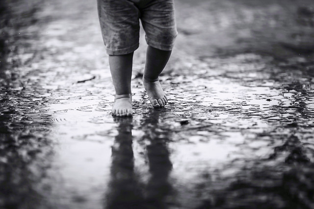 monochrome-people-foot-street-rain picture material