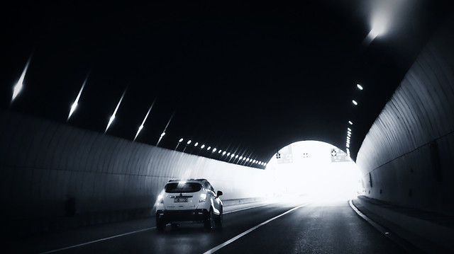 monochrome-street-car-blur-light picture material