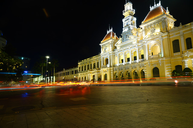 lively-night-at-ho-chi-minh-city-hall picture material