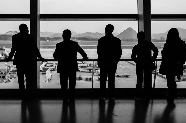 people-man-silhouette-group-airport picture material