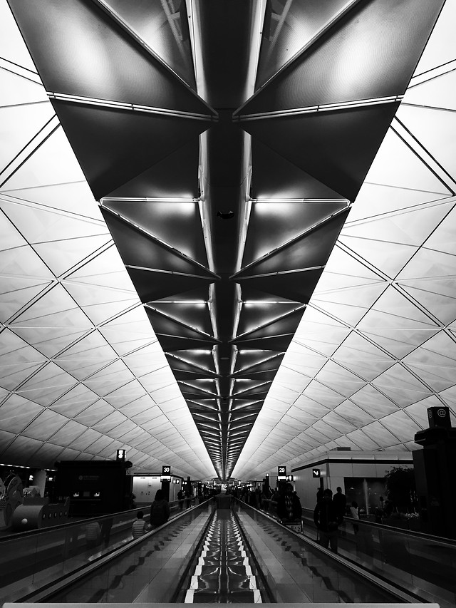 subway-system-tunnel-monochrome-airport-escalator picture material