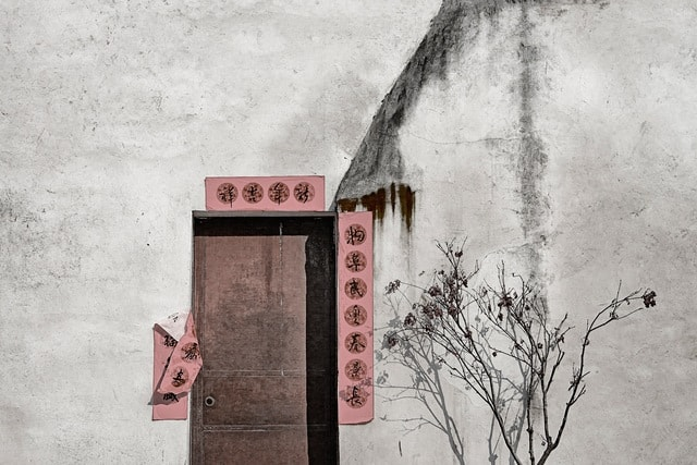 door-color-building-chinese-style-wall picture material