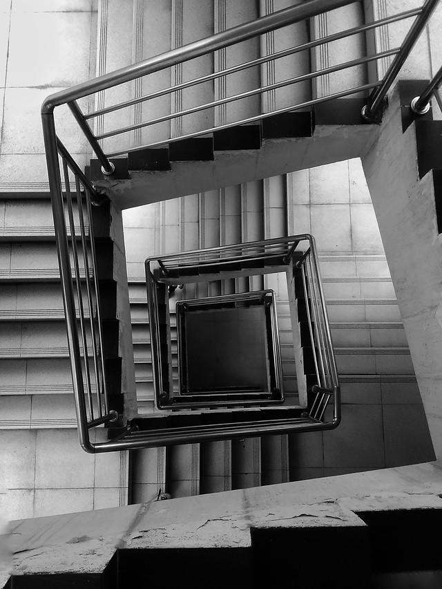 step-no-person-monochrome-architecture-black-white picture material