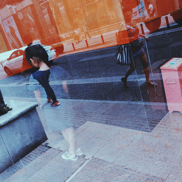 people-red-photograph-pavement-motion picture material