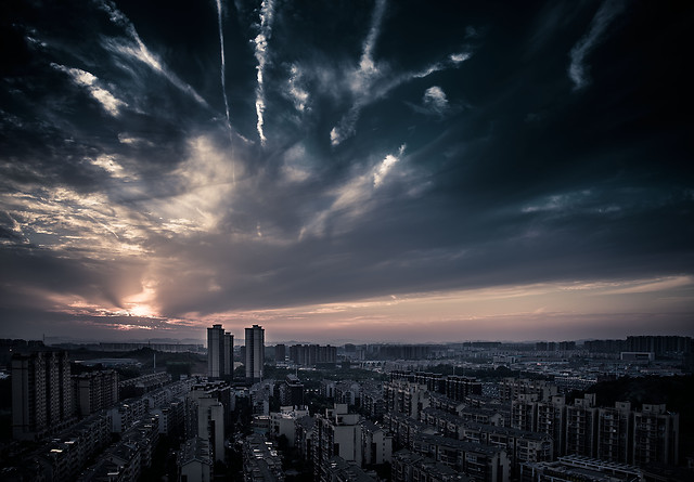 no-person-sunset-city-sky-cityscape 图片素材